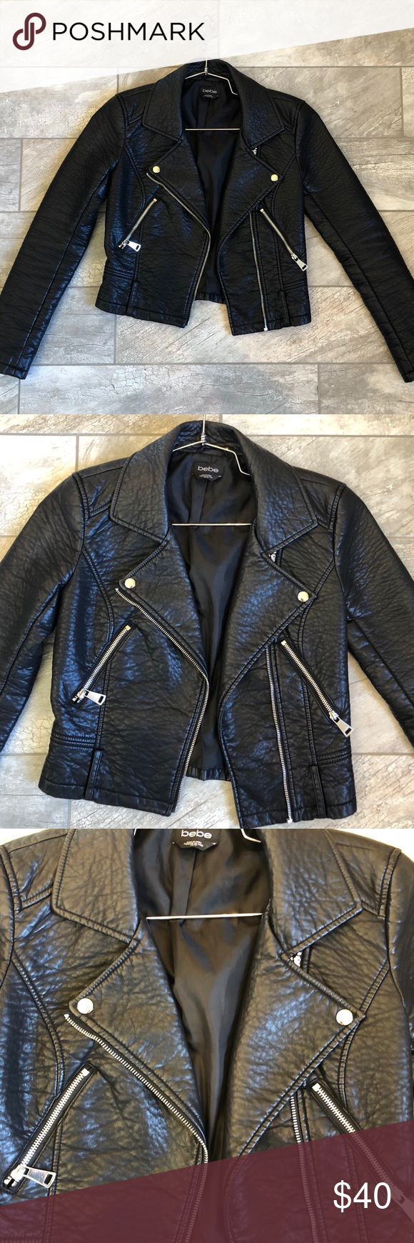 Bebe Motorcycle Jacket Pebbled Faux Leather Jacket With Zipper Detail Bebe Jackets Coats Utility Jackets Jackets Leather Jacket Clothes Design