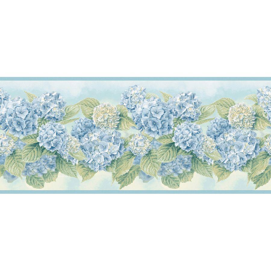 Blue bathroom wallpaper border - Allen Blue Pastel Hydrangea Prepasted Wallpaper Border For My Bathroom