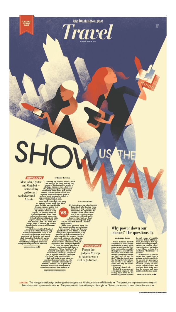 Travel - Washington Post by Mads Berg, via Behance. Diagonal composition for movement illusion