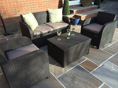 Allibert Keter Carolina Rattan Garden Furniture Set Anthracite G Or Brown Rattan Garden Furniture Sets Outdoor Furniture Sale Rattan Effect Garden Furniture