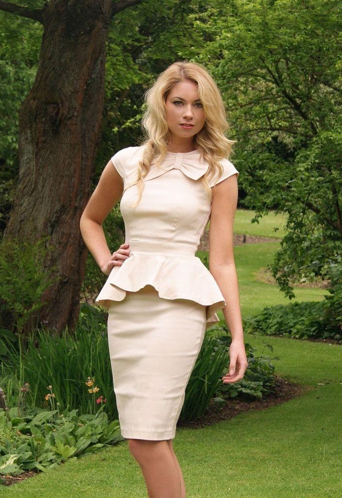 Paper Dolls Cream Pleated Peplum Dress - Dresses for Wedding Guests ...