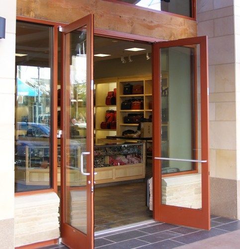 Double Exterior Commercial Glass Doors Doors Storefront Glass Herculite Doors
