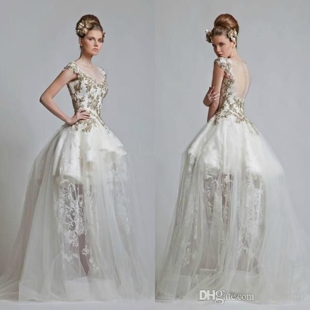 Lace Appliques Tiers Scoop Neckline Illusion Online With 167 05 Piece Dhgate Wedding Dresses Nyc Short Sleeve Wedding Dress Sweep Train Wedding Dress