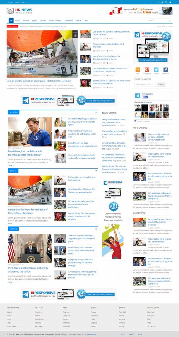 HR News-free wordpress magazine theme | Web Design Freebies ...