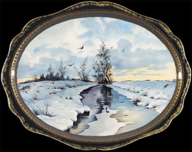 ZHOSTOVO PAINTING -russian art.podnosy-painting on metal