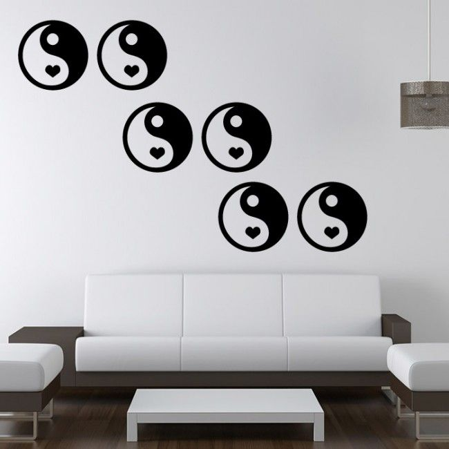 Yin Yang Heart Peace Wall Art Decal Sticker | Wall/ Tile Art Vinyl ...