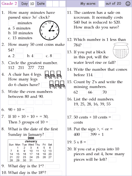 Mental Math Grade 2 Day 10 | mental maths | Pinterest | Mental ...