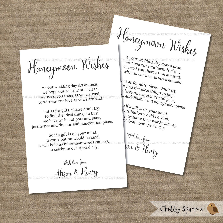 Wedding Gifts List Card Information Honeymoon Fund 4x6 Etsy Honeymoon Fund Wedding Gift List Simple Invitation