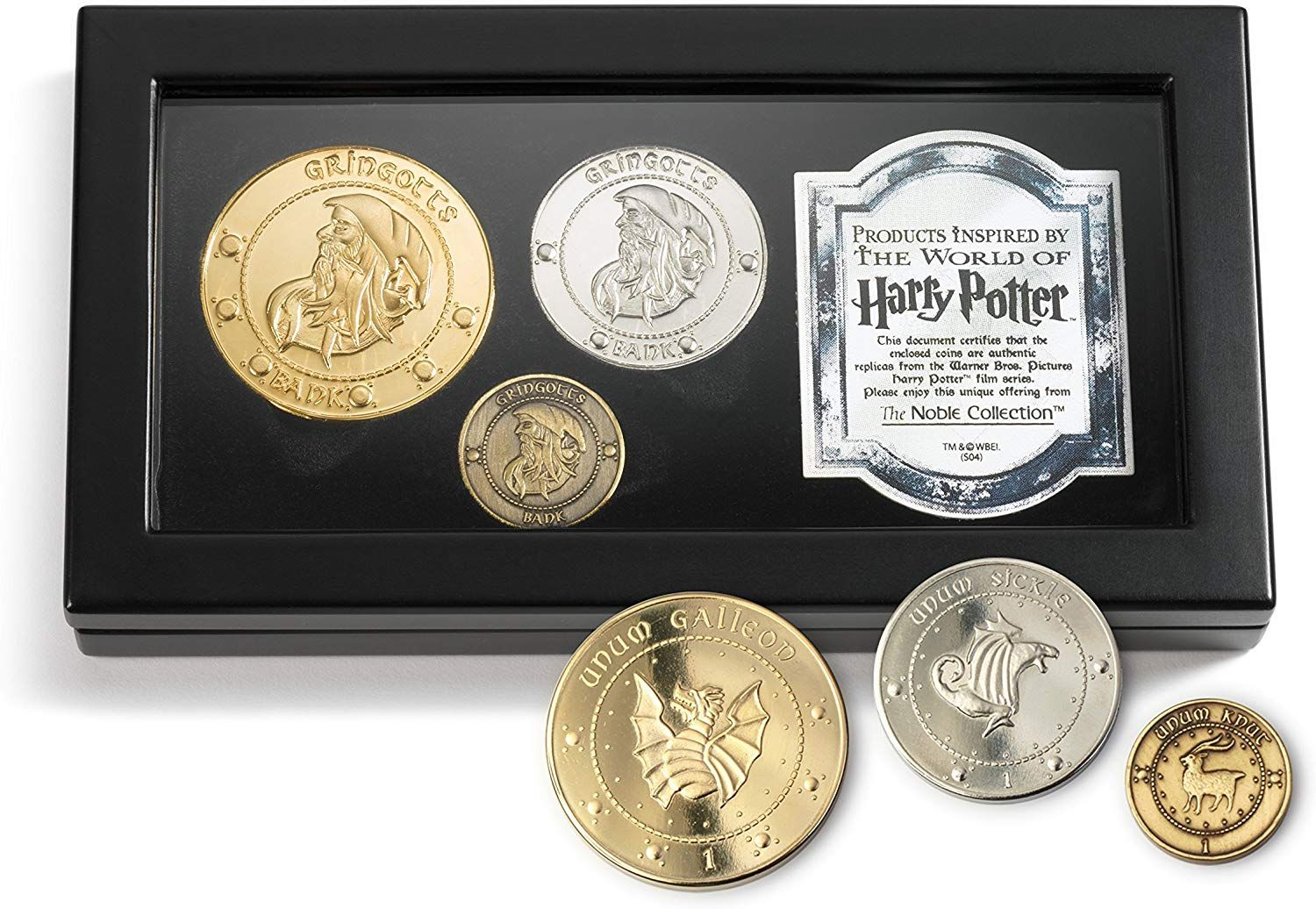 A set of gringotts bank coins beautifully recreated and