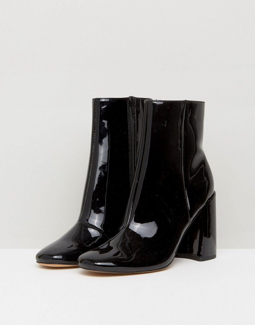 ASOS ENGAGE Patent Ankle Boots - Black
