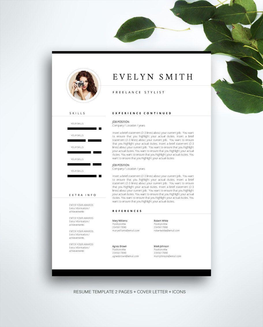 Pagina 3 Di Modello Curriculum Modello Di Cv Lettera Di Etsy Cv Template Resume Template Creative Cv