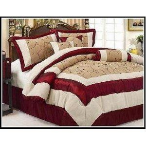 7pc Suede King Bed In A Bag Cleopatra Burgundy Comforter