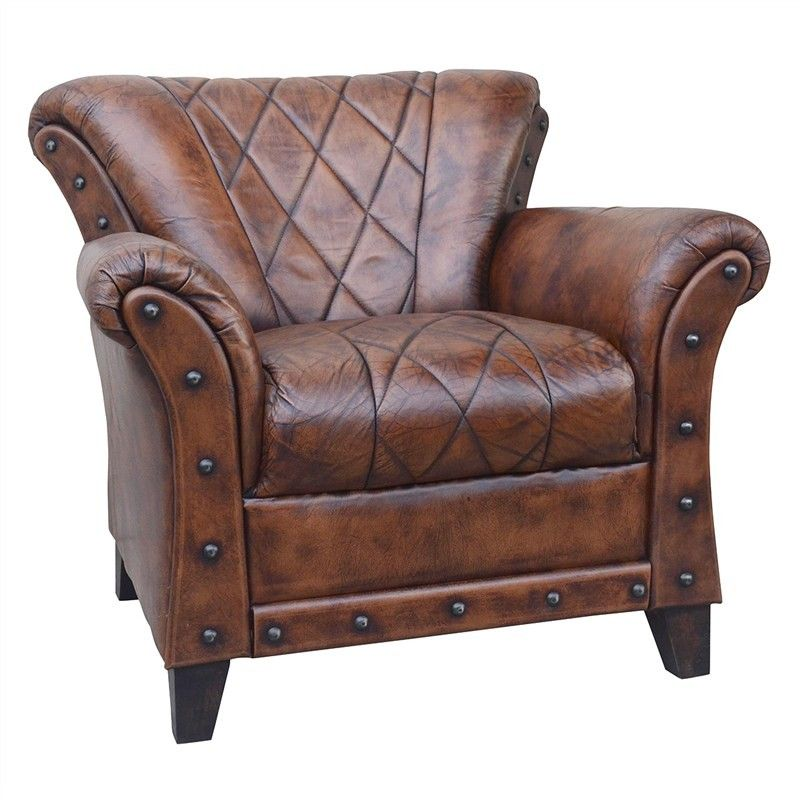 Find Cheap Furniture Online: Hillcrest Studded Leather Armchair