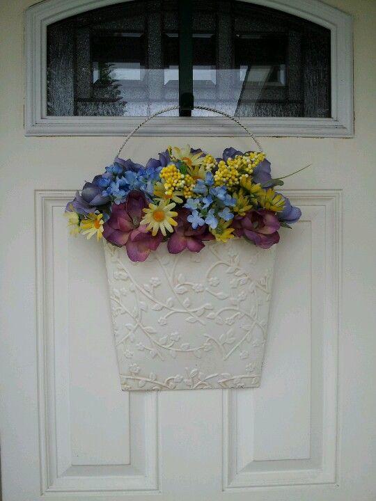 My Spring Front Door Decor Flat Back Metal Bucket W