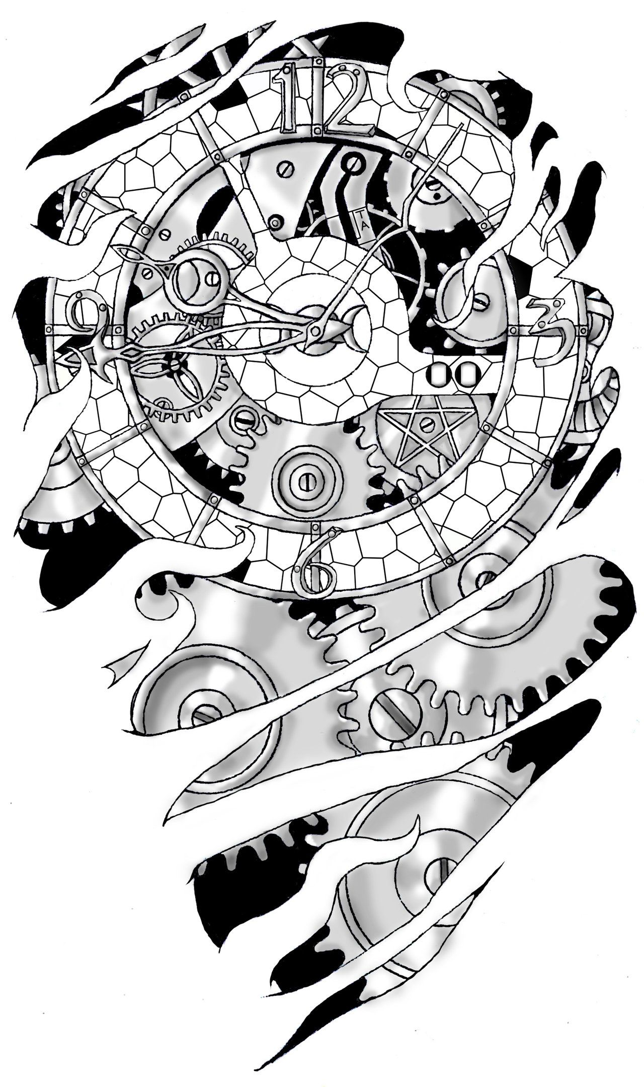 Clockwork By Noxiousliving On Deviantart Steampunk Tattoo Gear Tattoo Clock Tattoo