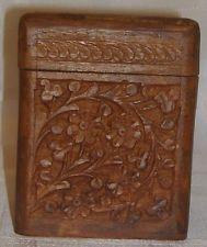 VINTAGE WOODEN BOX CARD HOLDER or CIGARETTE HOLDER