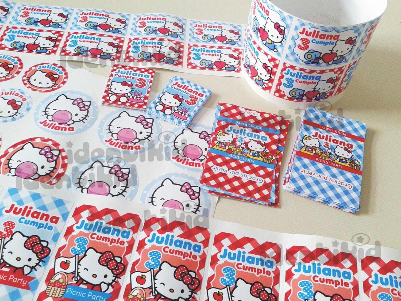 IDENTIKID - Etiquetas autoadhesivoas para chocolatines, paraguitas , paletas y bolsitas Hello Kitty Picnic. personalizado . www.facebook.com/identikid