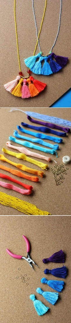 DIY Tassel Necklace | 22 Cheap DIY Jewelry Projects for Girls
