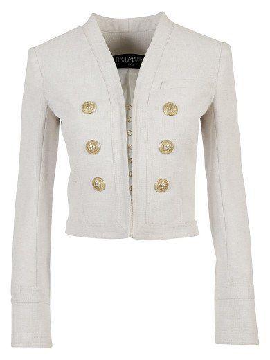 83d1d3b9 BALMAIN White Short Cotton Jacket -Double Six Gold Button. #balmain #cloth  #coats-jackets