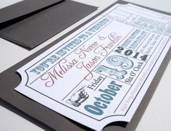 Movie Ticket Wedding Invitation DIGITAL DESIGN - movie ticket template