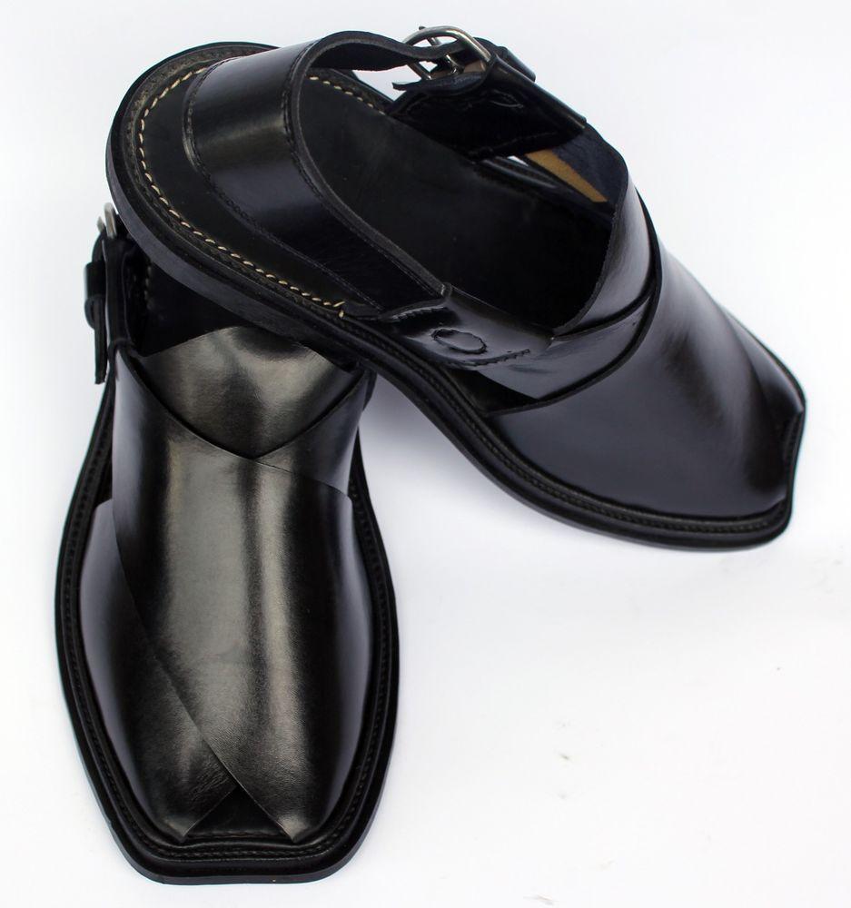 Grade Leather Peshawari Chappal (Black