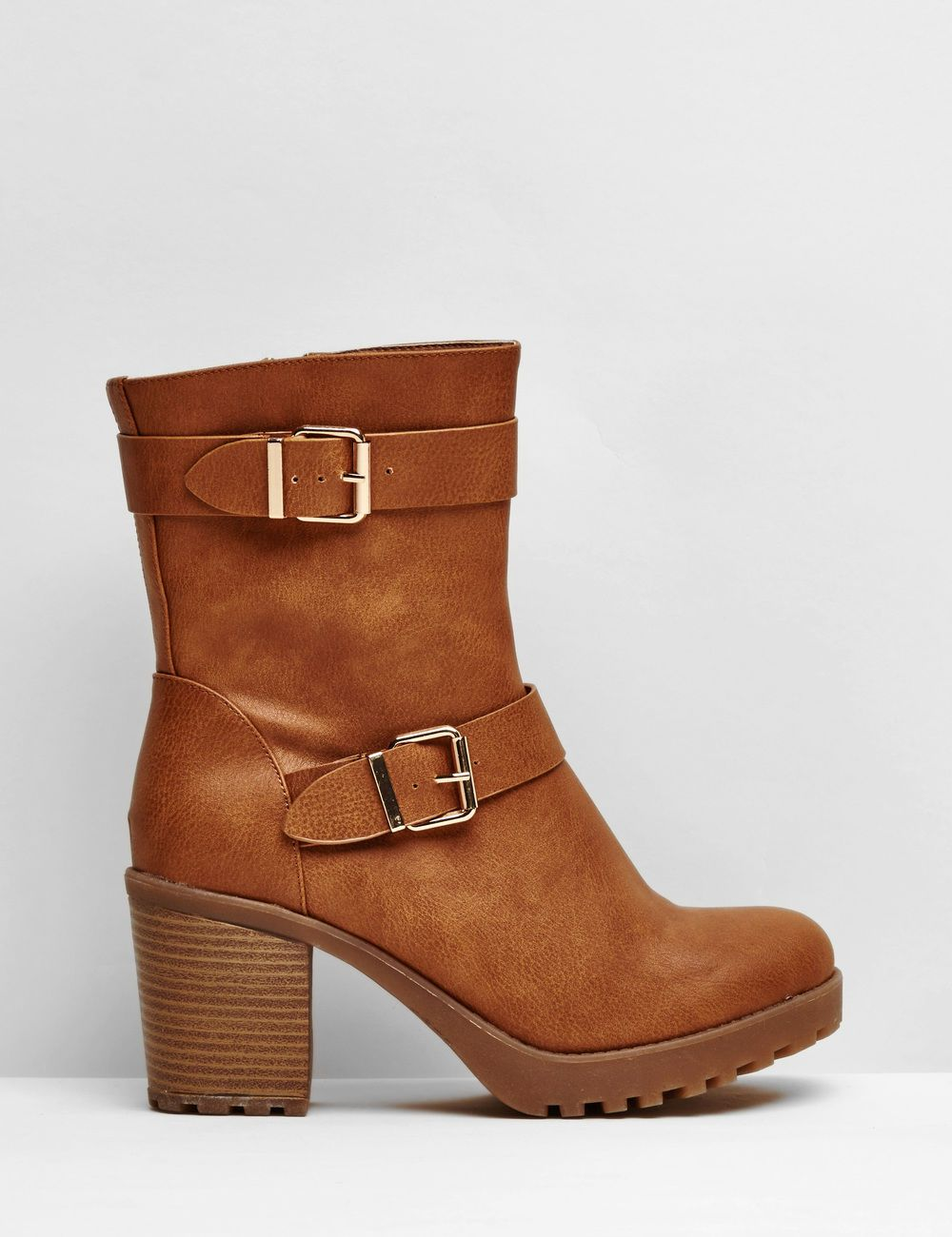 bottines crantées à talons camel | chaussures bottines