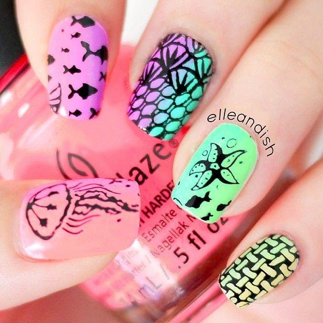 Nails inspiration - Peach, Pink, Purple, Green, Blue, Yellow, Black ::::: Sea Life