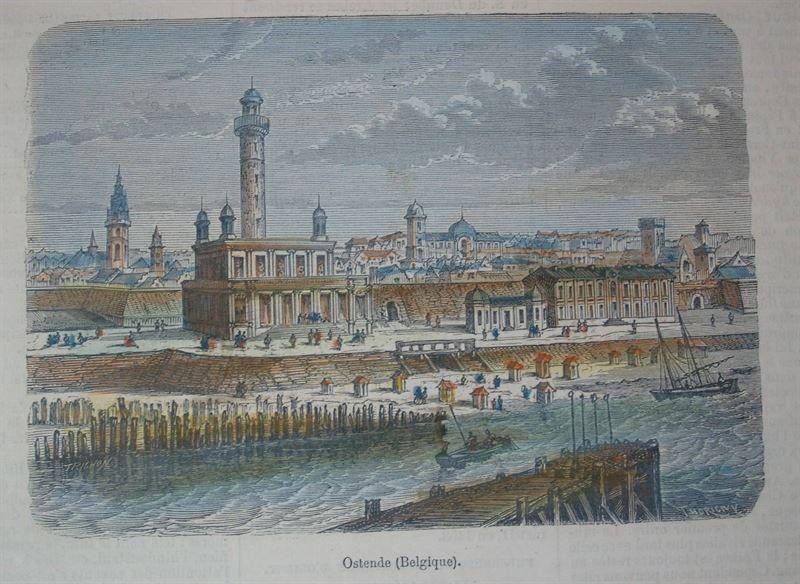 Oostende - gekleurde houtgravure ca 1880