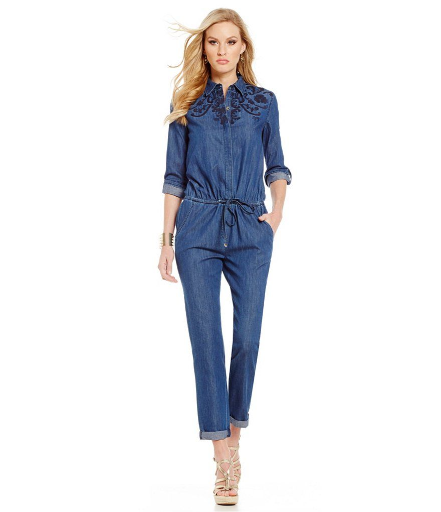 Juicy Couture Embroidered Chambray Jumpsuit  111ede3d9