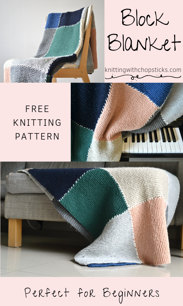 Free Blanket Knitting Pattern | Block Blanket | Knitting with Chopsticks