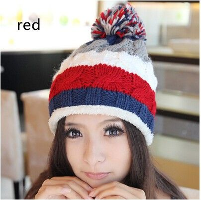 Women knit beanie hats with ball on top for winter  22d3c5b534e