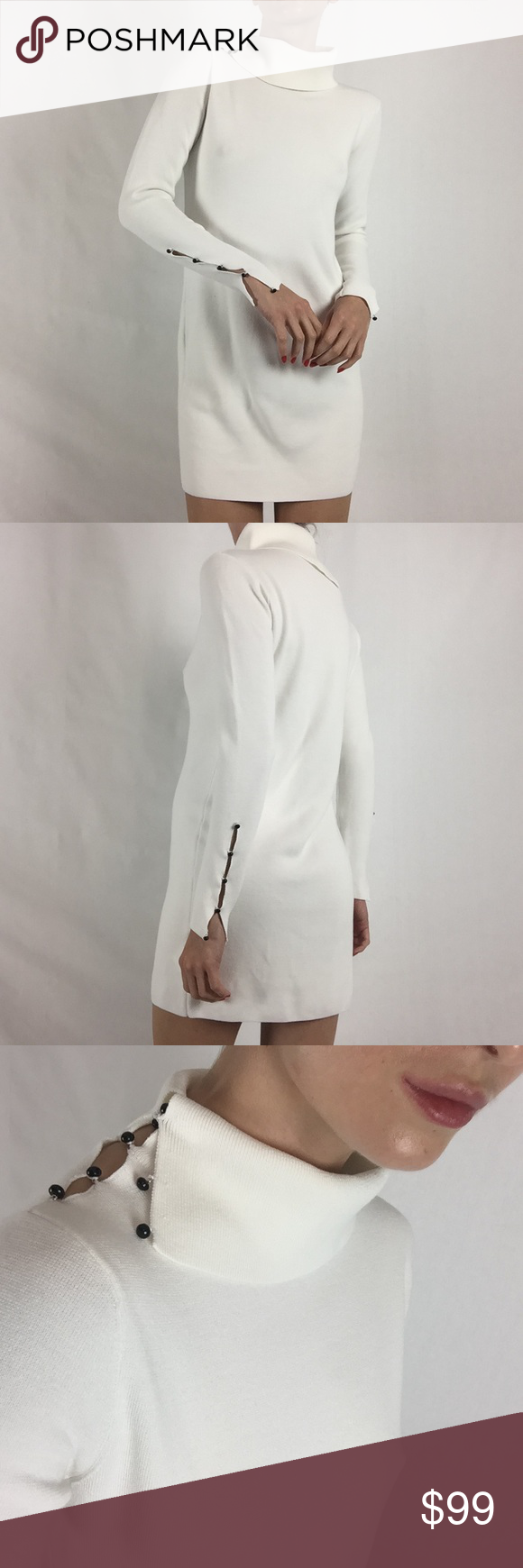 3285124e45 Club Monaco white cowl neck sweater dress White cowl neck sweater dress  with black button details around the shoulder and wrists from Club Monaco  Club ...