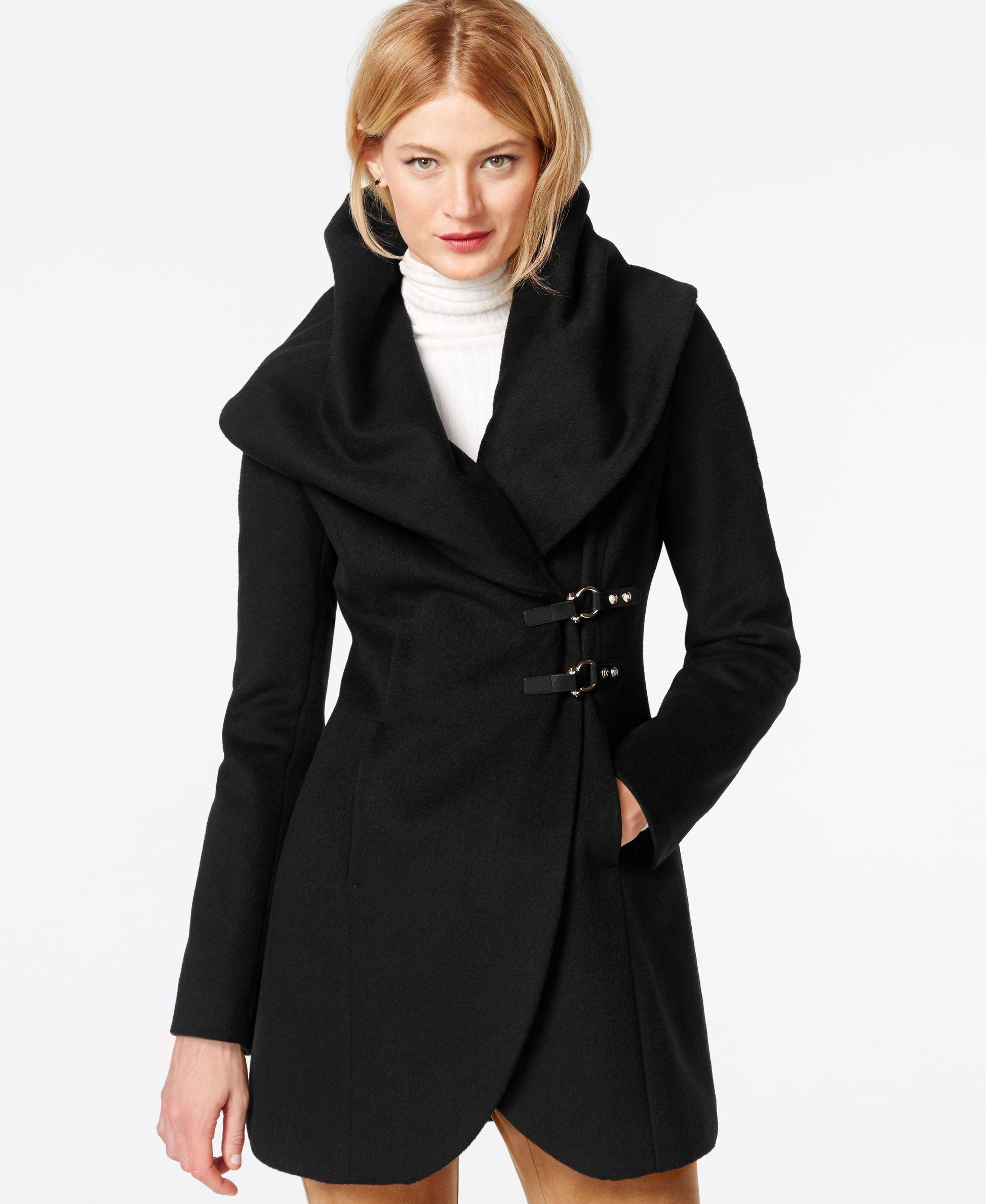 Ivanka Trump Shawl-Collar Asymmetrical Buckled Coat ...