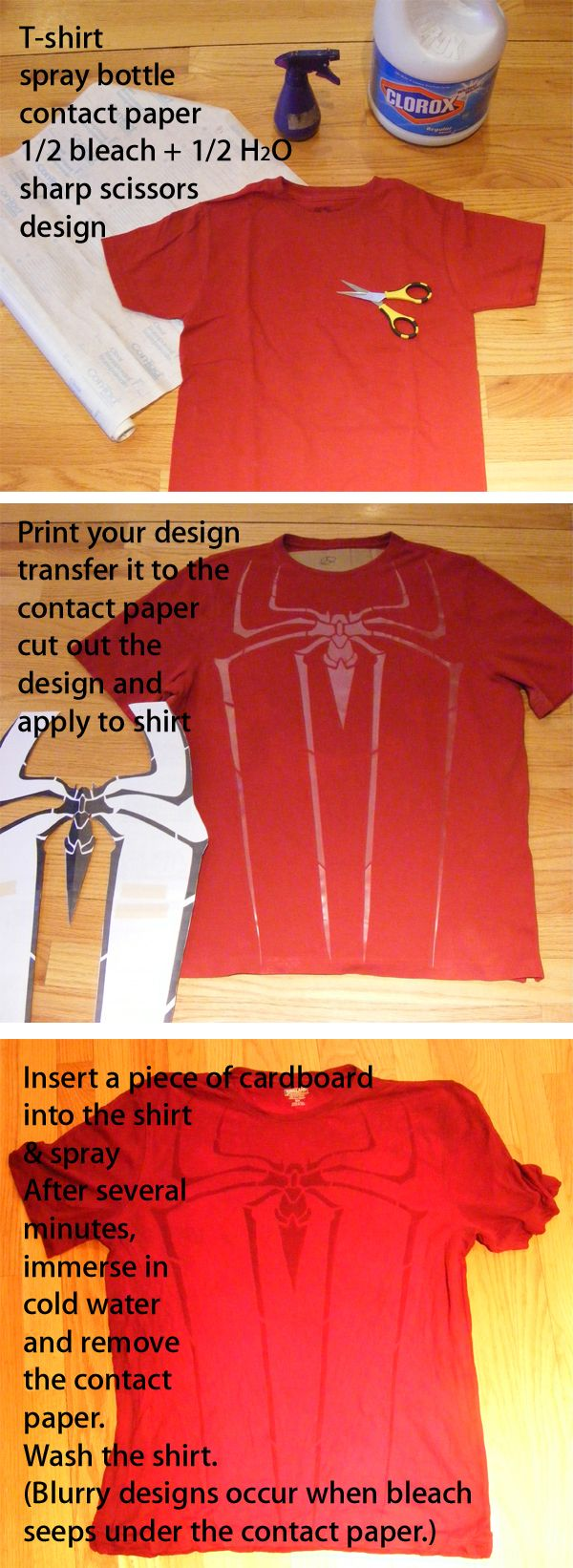 DIY bleach Spiderman shirt. Amazing!   Too crafty   Pinterest ... on homemade ghost shirts, homemade ironman shirts, homemade crayola shirts, homemade halloween shirts, homemade soccer shirts, homemade pacman shirts, homemade jurassic park shirts, homemade peter pan shirts, homemade wwe shirts, homemade cat shirts, homemade birthday shirts, homemade hannah montana shirts, homemade sports shirts, homemade football shirts, homemade pi shirts, homemade thomas shirts, homemade tinkerbell shirts, homemade superhero shirts, homemade dinosaur shirts, homemade superman costume for a girl,