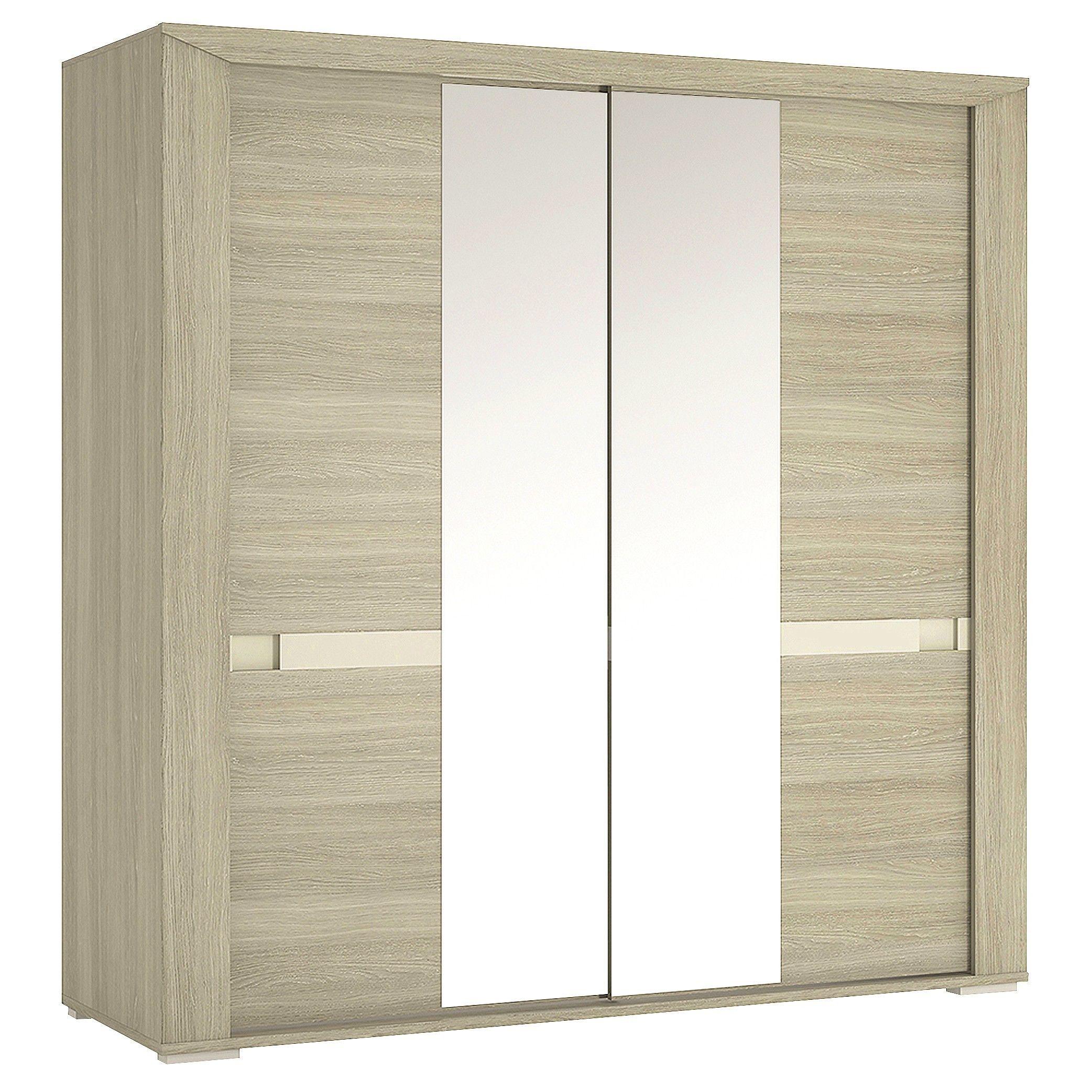 Madras cm sliding door wardrobe with mirror doors in champagne