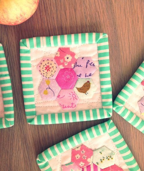 """Aneela Hoey's hexie coasters for quilt """"therapy"""""""
