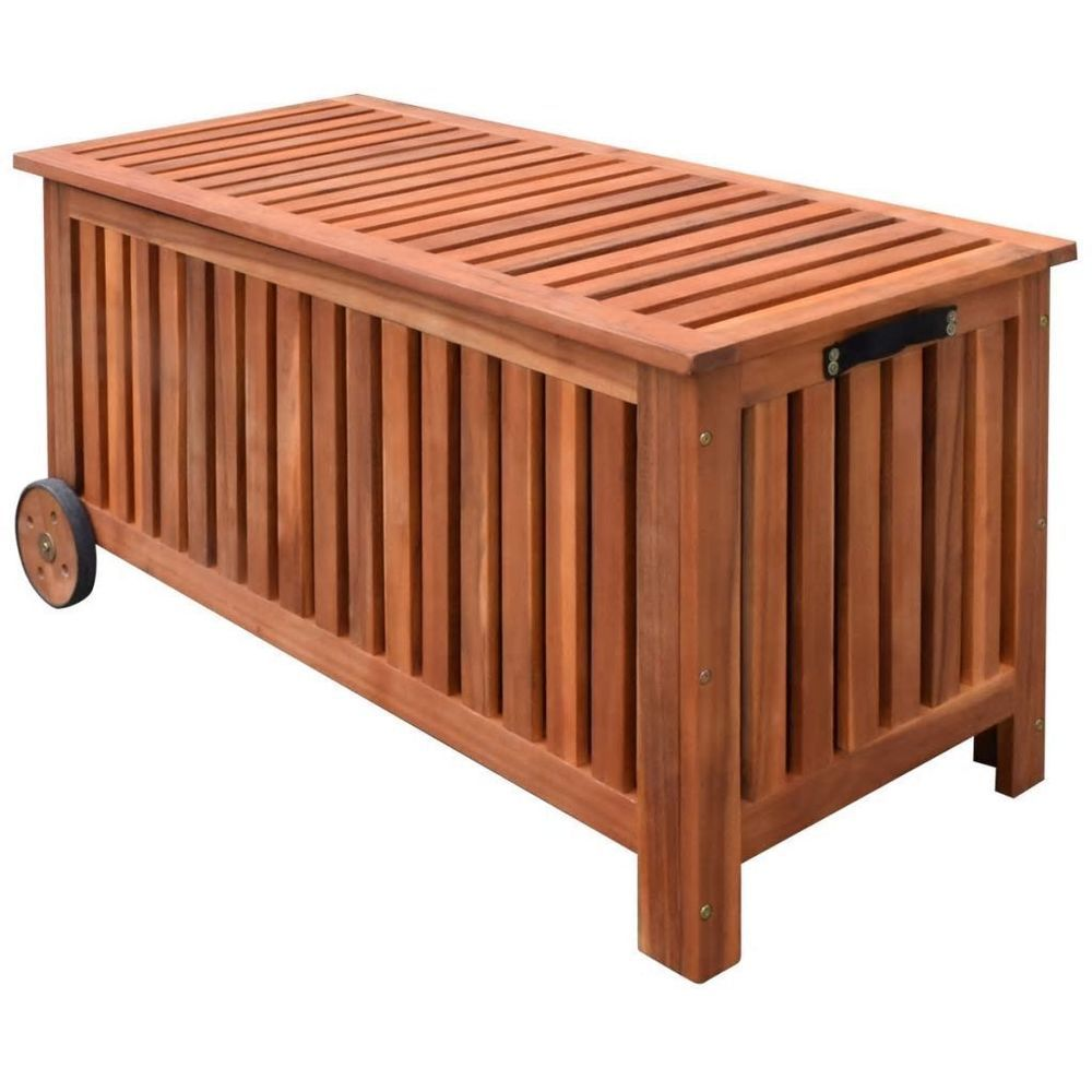 Garden cushion storage box natural oil finish 2 wheels wooden outdoor furniture gardencushionstorage