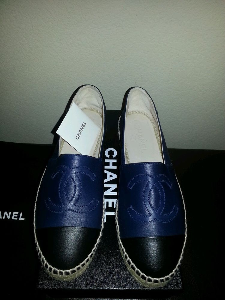Shoes | Navy chanel, Chanel, Espadrilles