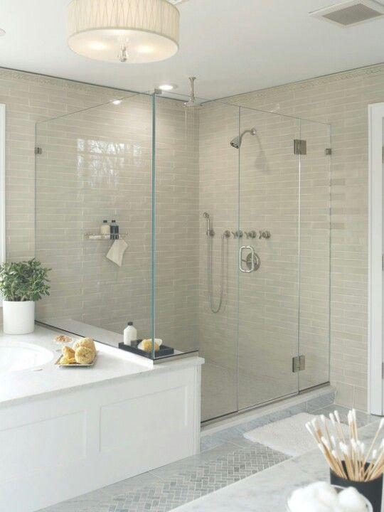 Bathroom shower stall - love the lightness of the shower tiles and ...