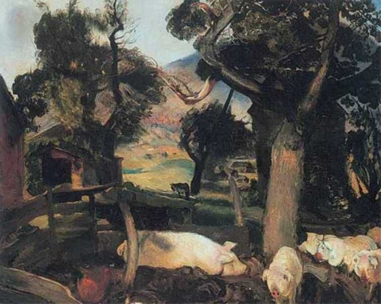 George Bellows - Pigs and Donkey