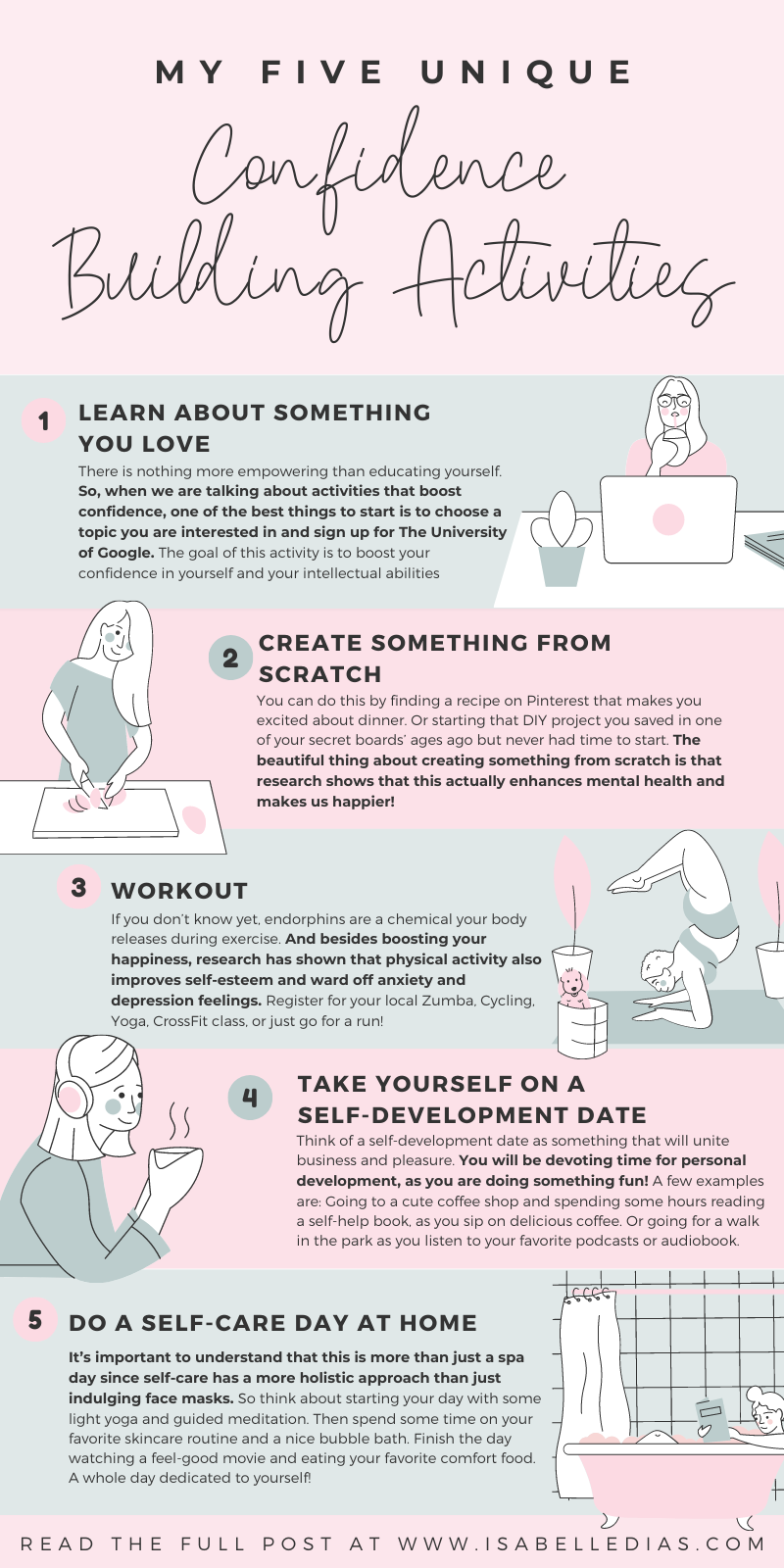 Building self confidence doesn't have to be a challenge! Let me share with you my unique confidence building activities for women, packed with self love motivation and the best self help based principles to help you on your how to become more confident! #personaldevelopment #selfdevelopment #selflove #confidence