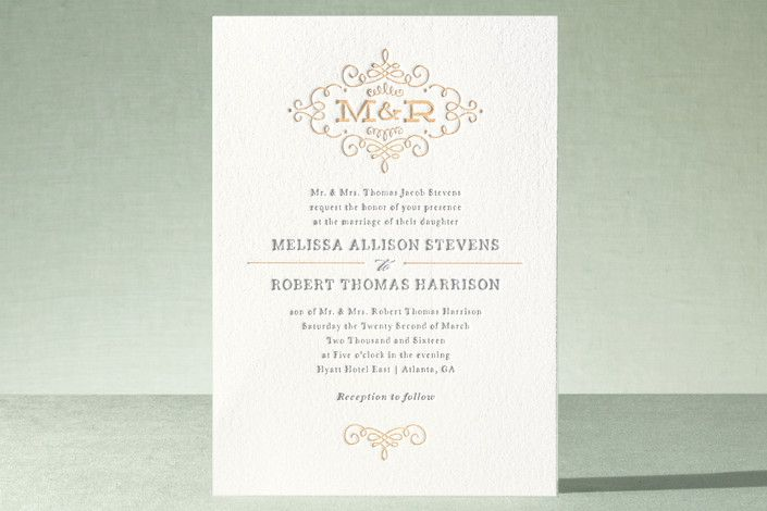 Ornate Monogram Letterpress Wedding Invitations by Kristen Smith at