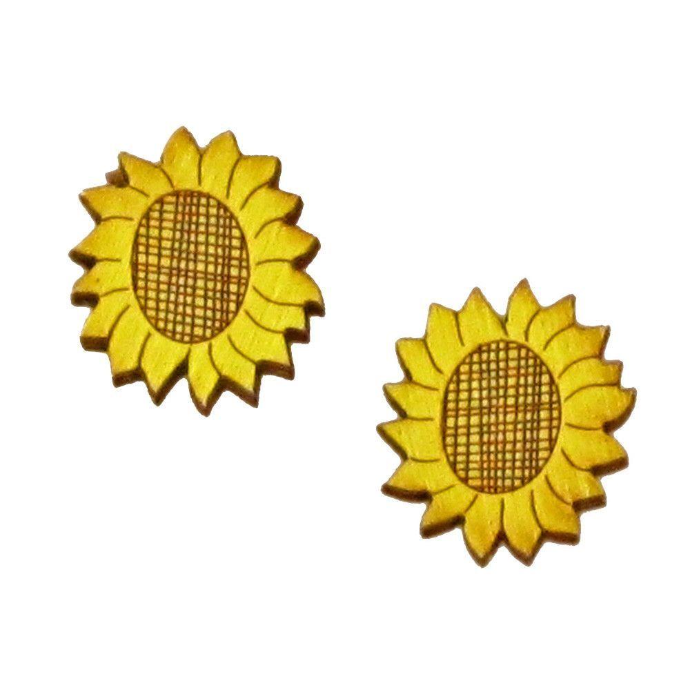Green tree handmade laser cut wood stud earrings sunflowers