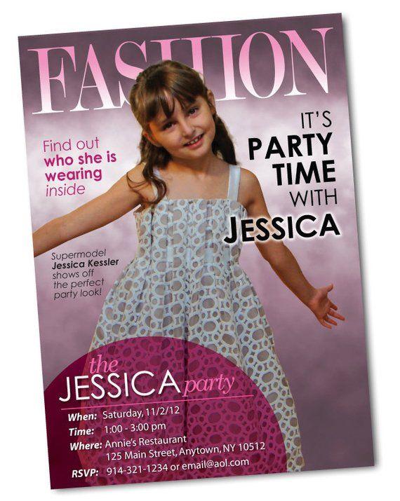 Fashion Magazine Cover Personalized Birthday Invitation