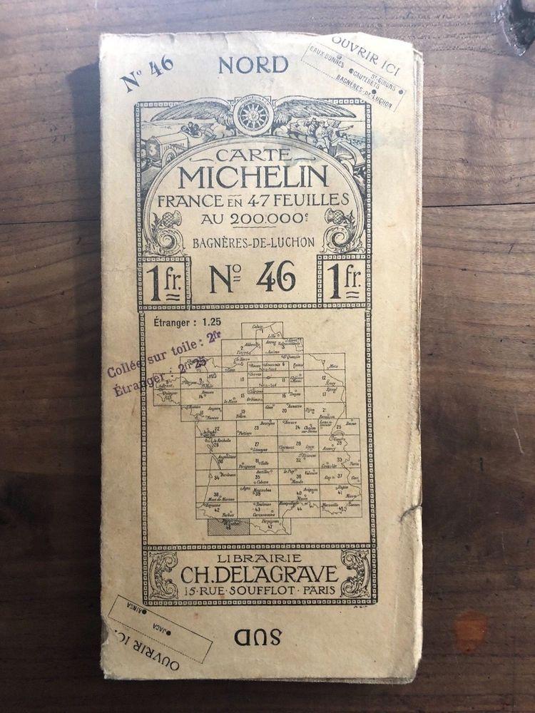 Ancienne Carte Routiere Michelin Entoilee 1911 Bagneres N 46 Lib