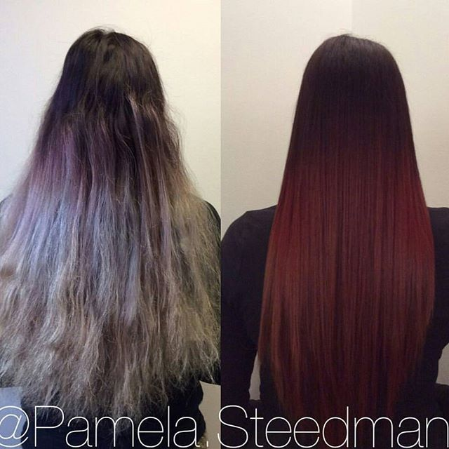 Red ombré hair makeover <> Before after hair
