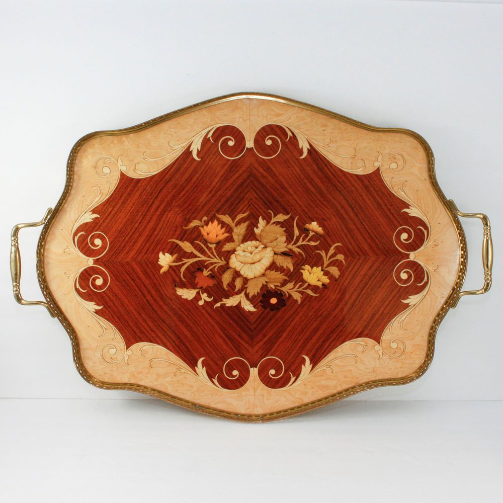 Vintage italian wood tea tray marquetry inlay brass italy appsters