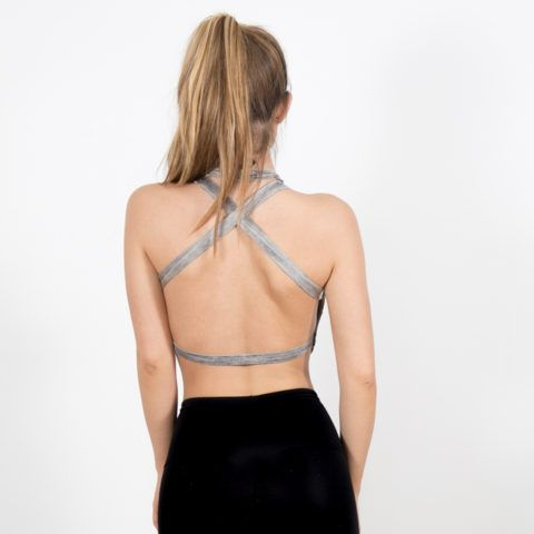 Grey open Back Crop - Disruptive Youth