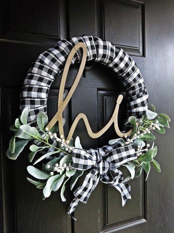 Photo of hi Buffalo Plaid Wreath, White and Black Wreath, Lambs Ear Wreath, welcome, Winter Wreath, Everyday Wreath, Buffalo Check, Spring Wreath