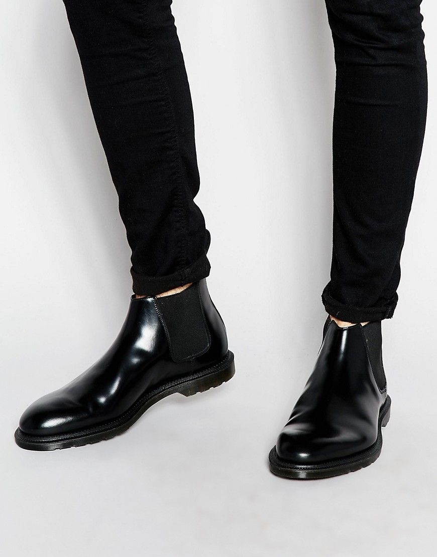 Distinctive Dr Martens Boots Black Wilde For Men Chelsea Shoes